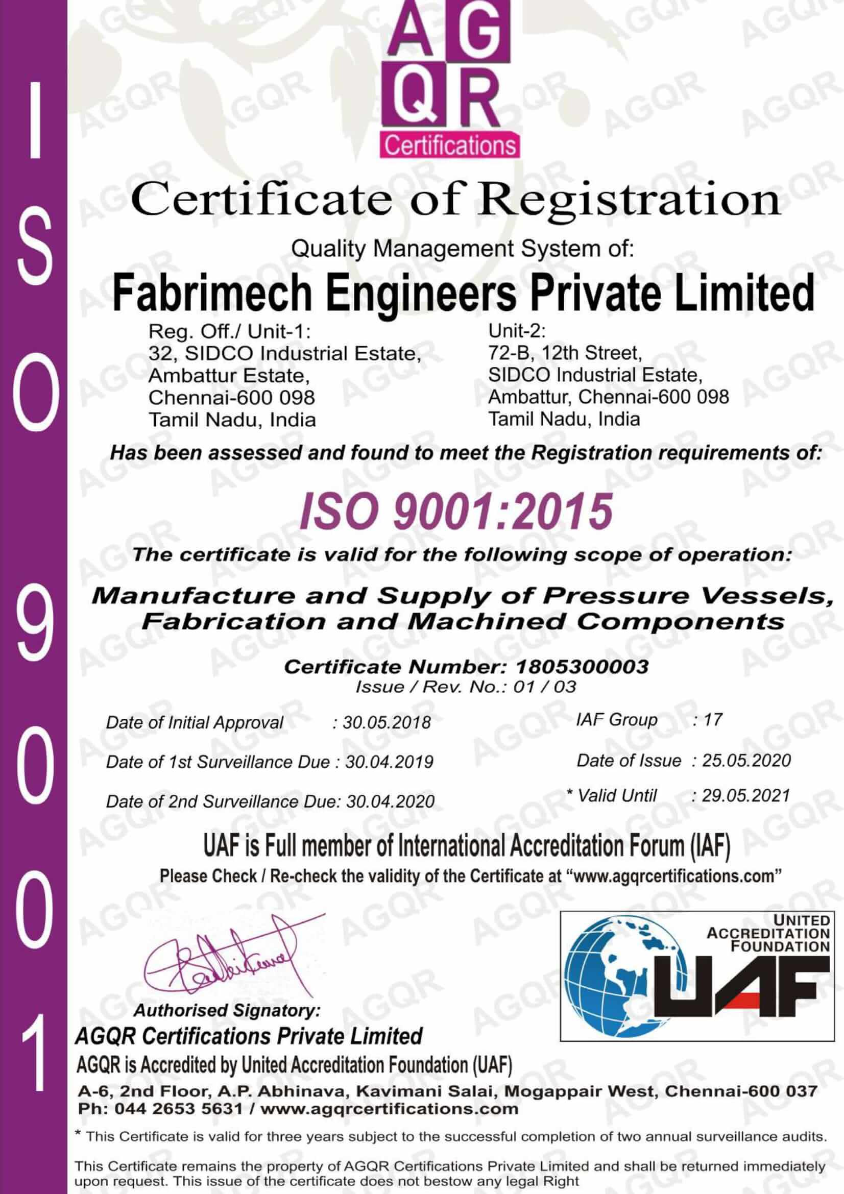 ISO 9001:2015 FMEPL 2021